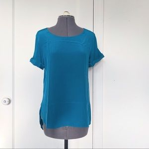Vince mixed media silk and modal tee